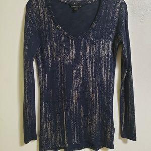 Rock & Republic V-neck Sweater Navy Blue Silver